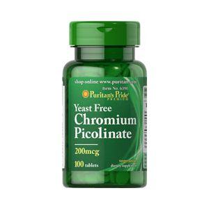Puritan's Pride Chromium Picolinate 200 mcg  yeast Free 100 Tabletten 6390
