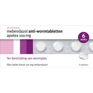 Apotex anti worm Tabletten Mebendazol 100mg 6 Tabletten
